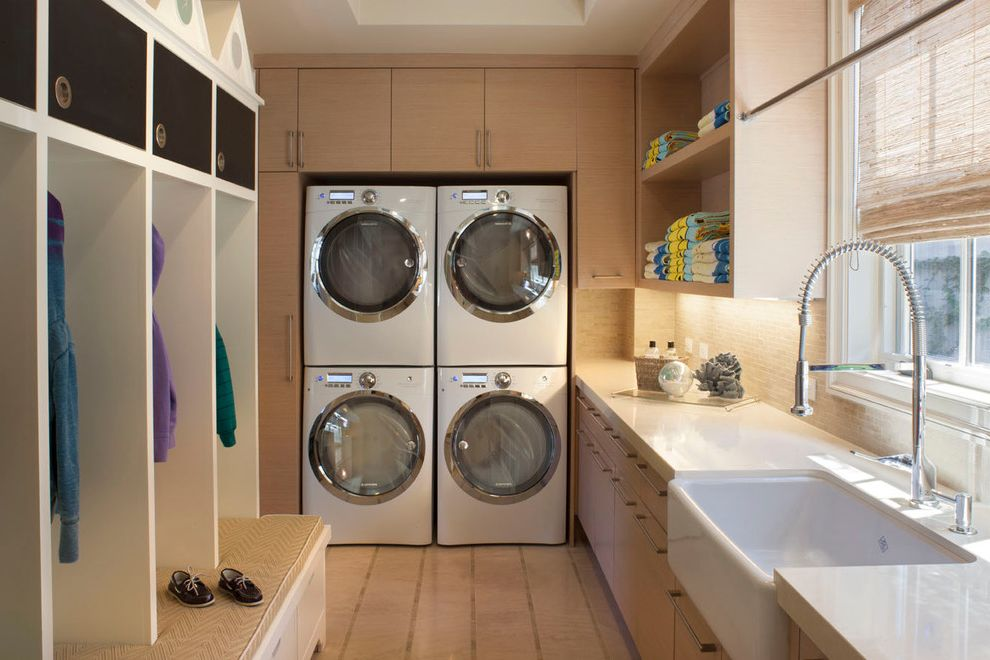 Commercial Grade Washing Machine with Traditional Laundry Room  and Cabinets Closet Entrance Farmhouse Sink Faucet Light Wood Light Wood Cabinets Mudroom Stackable Washer and Dryer Stacked Washer and Dryer Storage