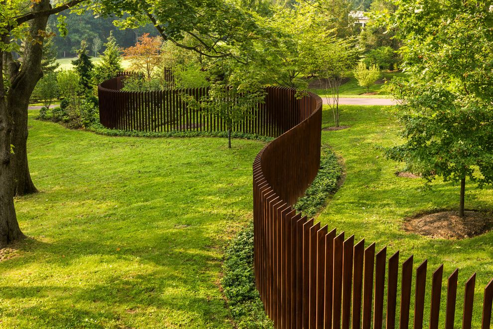 Compliant Meaning with Contemporary Landscape Also Arts and Crafts Inspired Cor Ten Cor Ten Fence Corten Steel Fence Grass Landscape Lawn Pre Rusted Sculptural Fence Serpentine Stanchion Steel Steel Fence