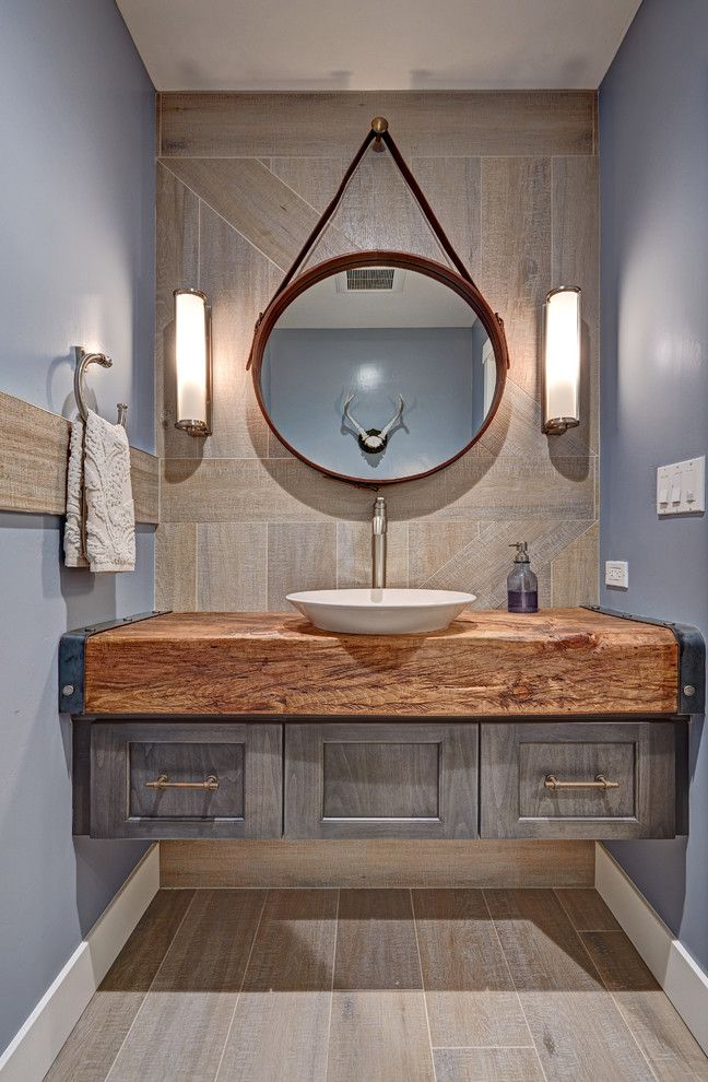 Compliant Meaning with Farmhouse Powder Room  and Alder Floating Vanity Hanging Mirror Round Mirror Rustic Single Handle Faucet Wall Sconces