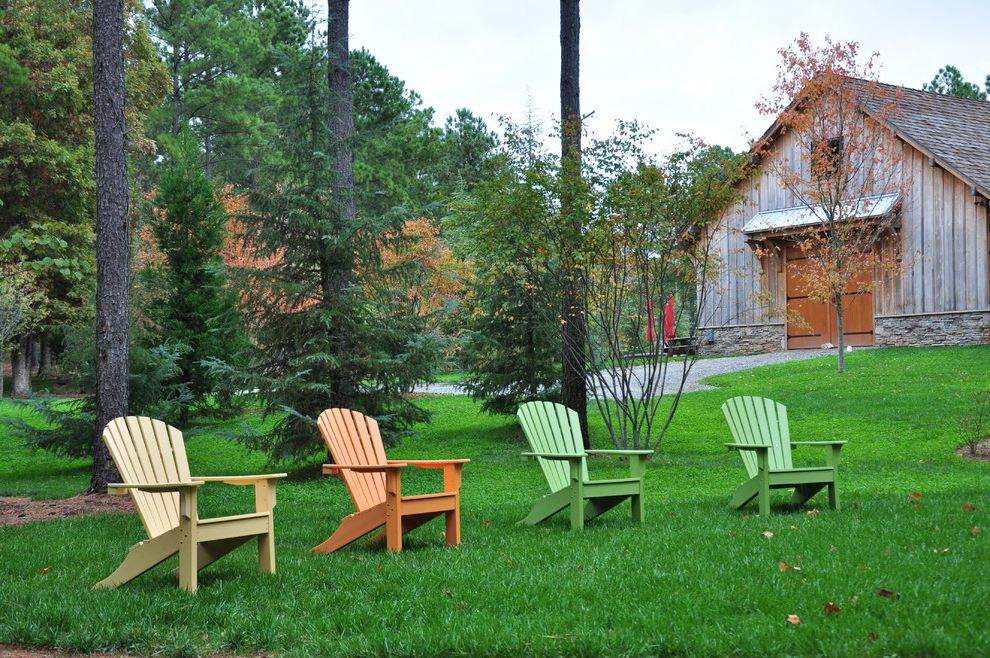 Composite Adirondack Chairs   Traditional Landscape  and Adirondack Barn Barn Doors Board and Batten Colorful Gable Roof Gravel Drive Lawn Shingle Roof Stacked Stone Foundation Weathered Wood