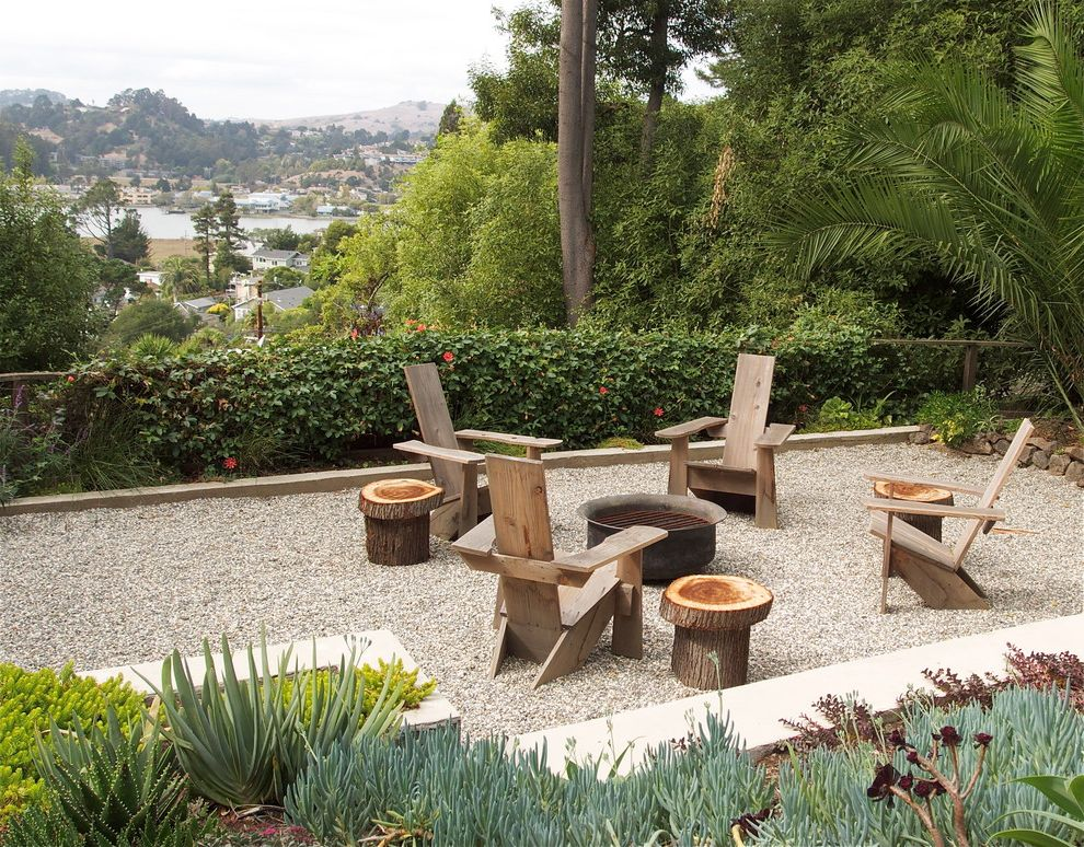 Composite Adirondack Chairs with Eclectic Landscape  and Adirondack Chairs Fire Pit Gravel Courtyard Patio Furniture Planters Succulents Tree Stump