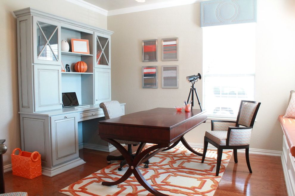 Computer Desk with Hutch Ikea with Contemporary Home Office  and Arabesque Rug Blue and Orange Blue Cabinet Desk Orange Orange Basket Tripod Lamp Upholstered Valance Window Seat