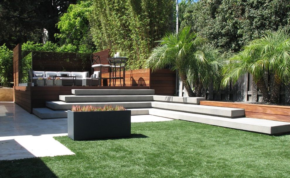 Concrete Contractors San Diego   Contemporary Landscape  and Concrete Lawn Palm Trees Planter Box Screen Seating Area Steps Wood