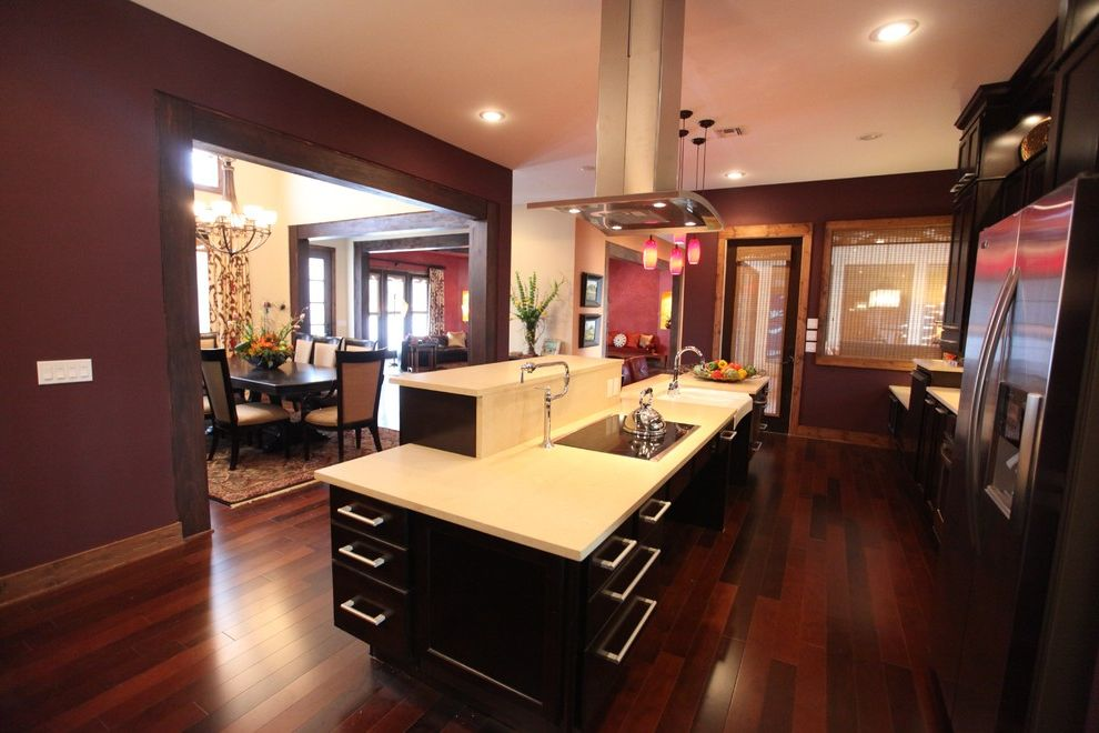 Conduction Stove   Contemporary Kitchen Also Dark Stained Cabinets Maroon Walls Open Kitchen Design Stainless Steel Appliances Stainless Steel Vent