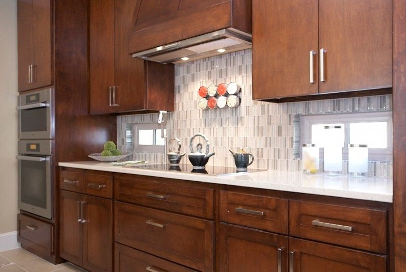 Conduction Stove   Contemporary Kitchen  and Built in Stainless Double Oven Contemporary Hardware Flat Panel Stained Cabinets Glass Conduction Stove Inserted Hood Santamargherita Countertop Vertical Glass Tile