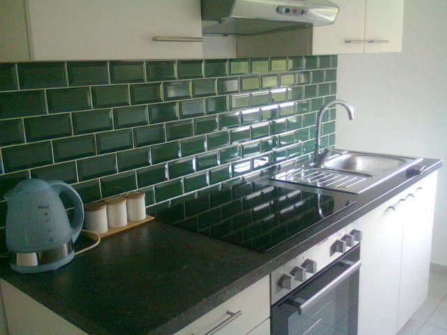 Conduction Stove   Traditional Kitchen Also Green Subway Tiles