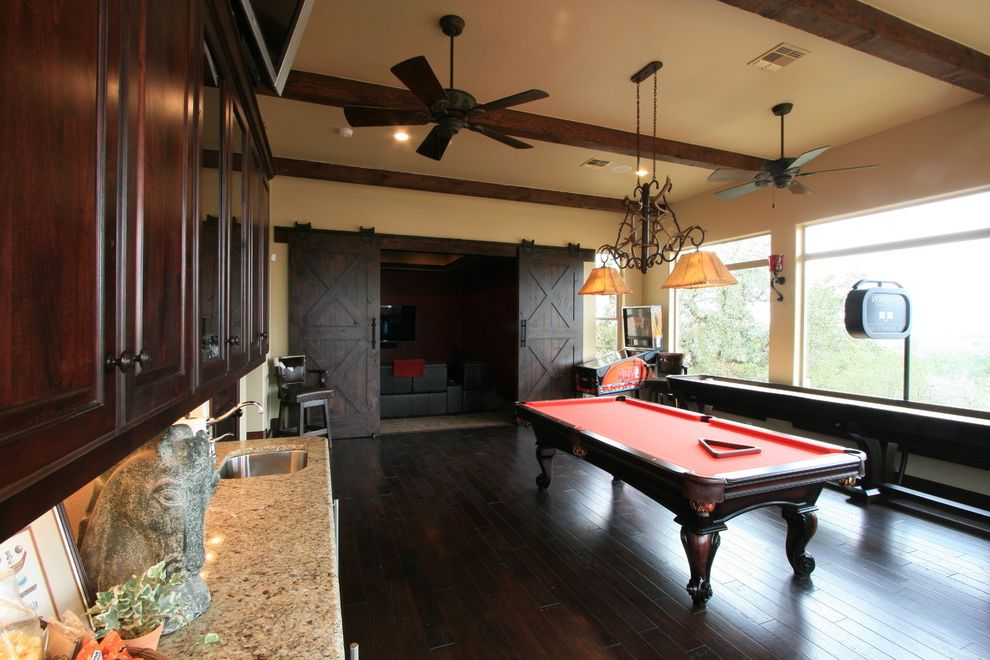 Conjoining Rooms   Traditional Home Theater Also Barn Doors Billiards Cards Custom Home Game Room Hill Country Home Poker Shuffle Board