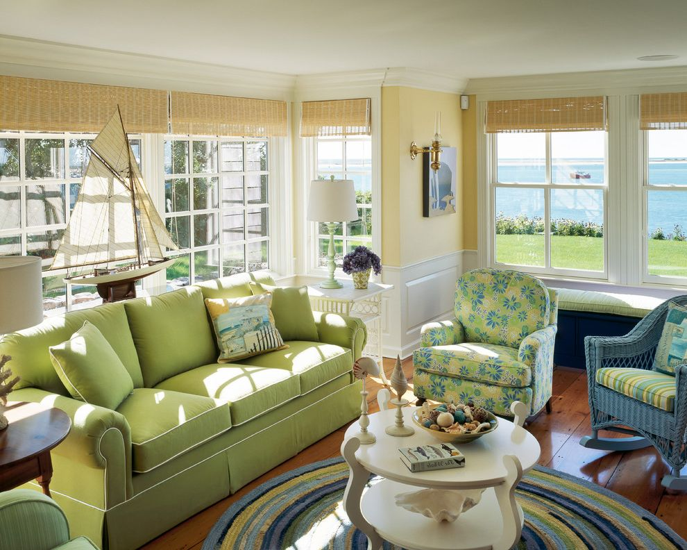 Conjoining Rooms with Beach Style Living Room  and Cape Cod Coastal Floral Chair Green and Blue Green Sofa Matchstick Blinds Piping Round Coffee Table Round Rug Sailboat Side Table Sofa Table Stripes Water View Wicker