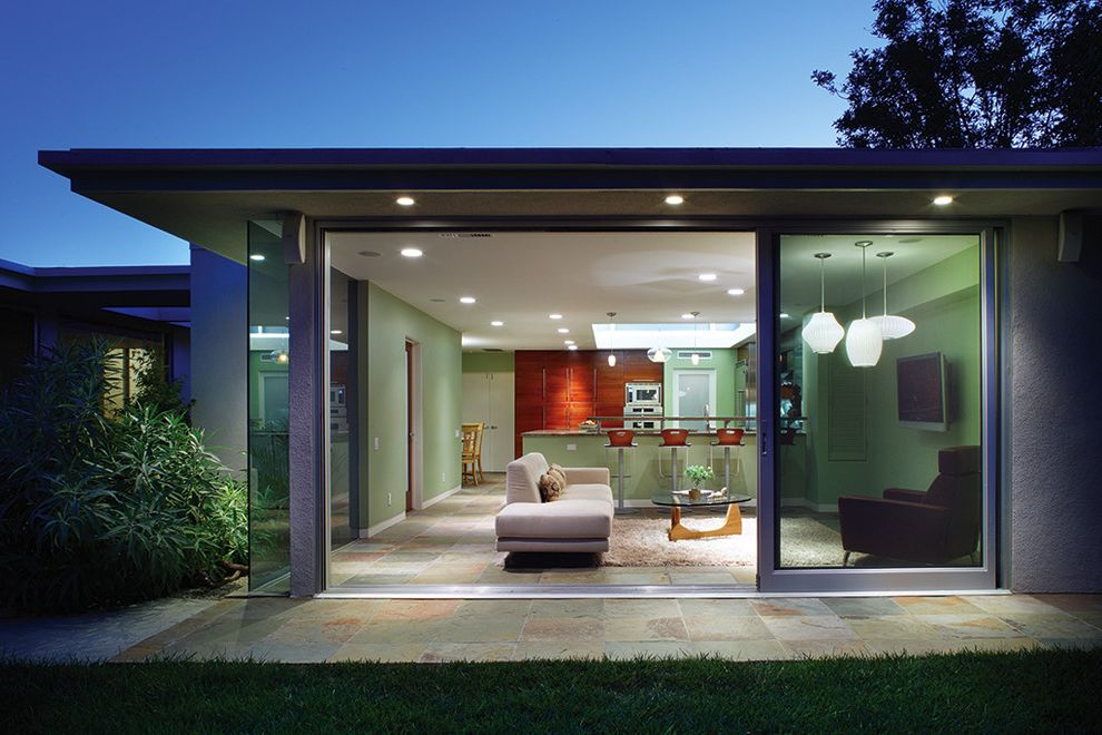 Conjoining Rooms with Contemporary Family Room  and Family Room Garden Mid Century Modern Modern Sliding Glass Doors