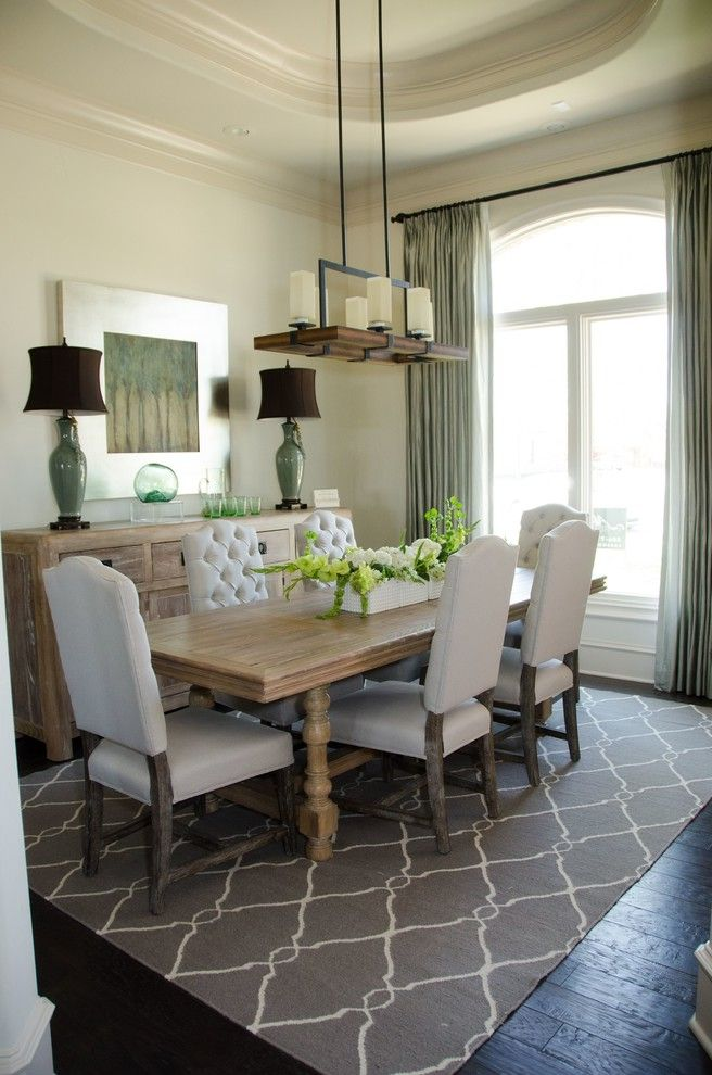 Conjoining Rooms with Transitional Dining Room  and Area Rug Curtains Custom Drapes Dining Table Drapery Drapes Extra Long Drapes Green High End Curtain Drape Light Fixtures Roman Shades Sage Green Drapes Shades Shutter Window Treatments