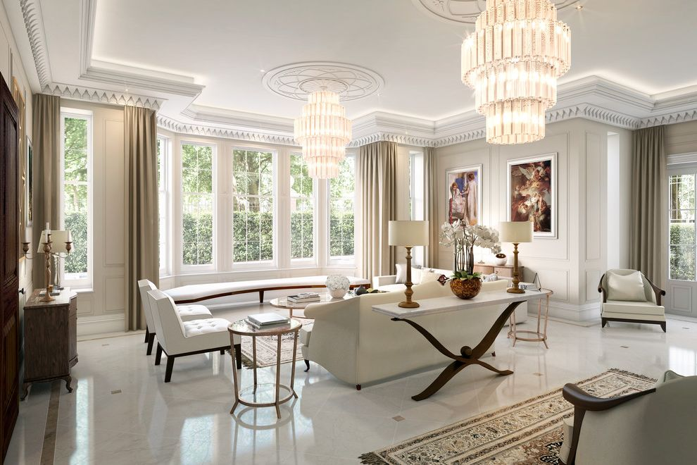 Console Tables Ashley Furniture   Transitional Living Room Also Bench Chandelier Classic Design Console Table Elegant Furnishings Side Tables Sofa Table Lamps Timeless Design Wall Art Windows