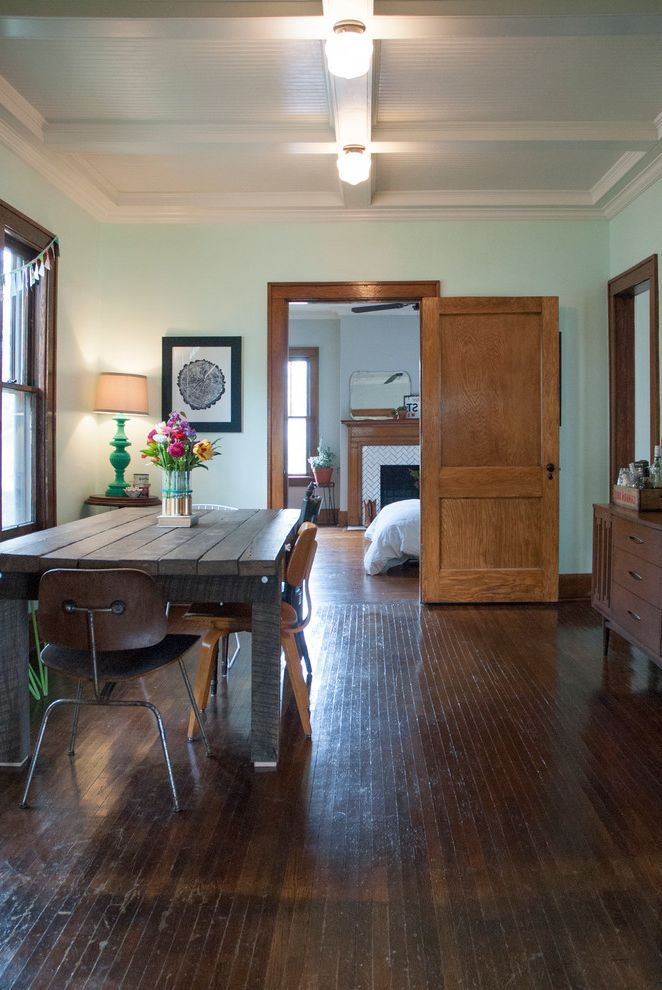 Construction Companies Columbus Ohio   Eclectic Dining Room Also Bright Accents Bungalow Dining Room Eames Chair Eclectic Green Walls Hardwood Floors Industrial Painted Lamp Panelled Ceiling Reclaimed Wood Table Vintage
