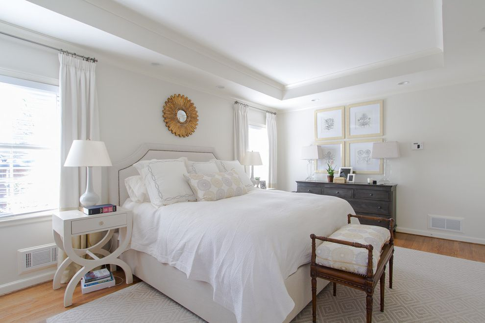 Construction Companies Columbus Ohio   Traditional Bedroom  and Bed Bench Mirror Rug Side Table White White Bedding Wood Floor