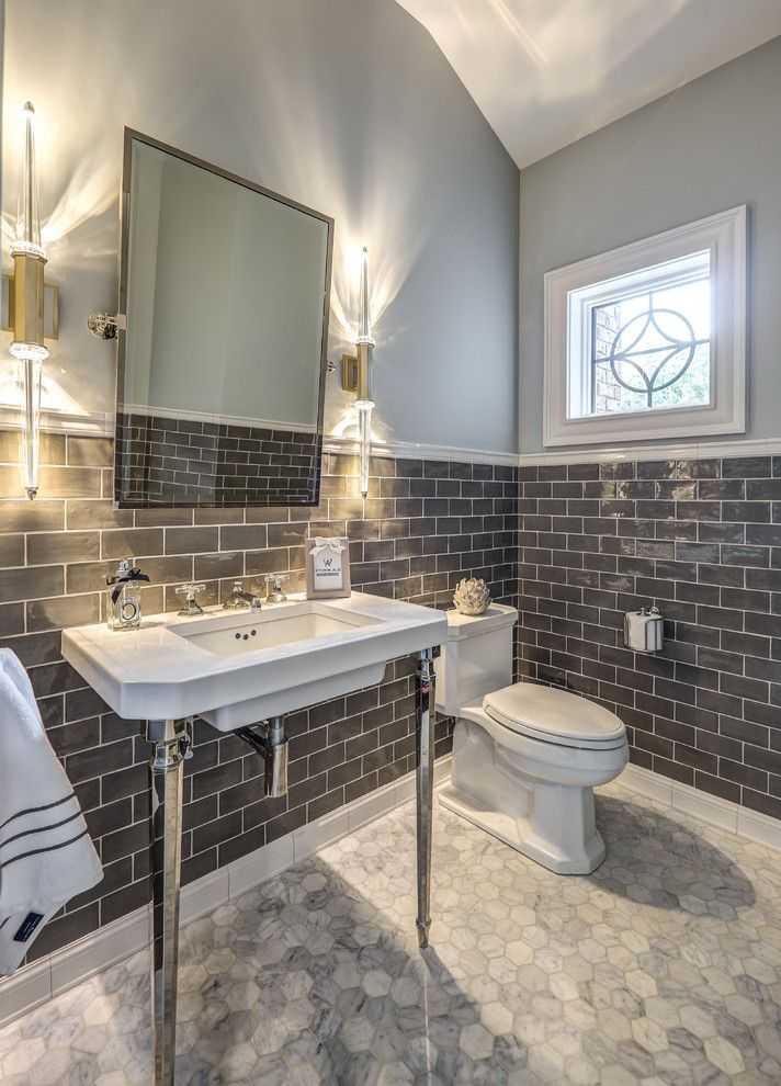 Construction Companies Columbus Ohio   Transitional Powder Room  and Console Sink Contemporary Elegant Powder Room Gray Bathroom Gray Subway Tile Gray Tile Gray Walls Honeycomb Tile Modern Wall Sconce