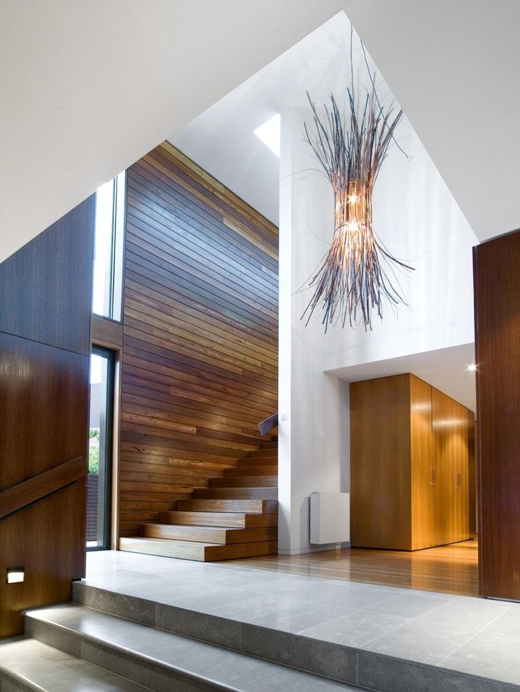 Contractor License Ma   Contemporary Staircase  and Contemporary Pendant Light Interior Design Modern Entry Natural Light Timber Timber Staircase Twig Lighting