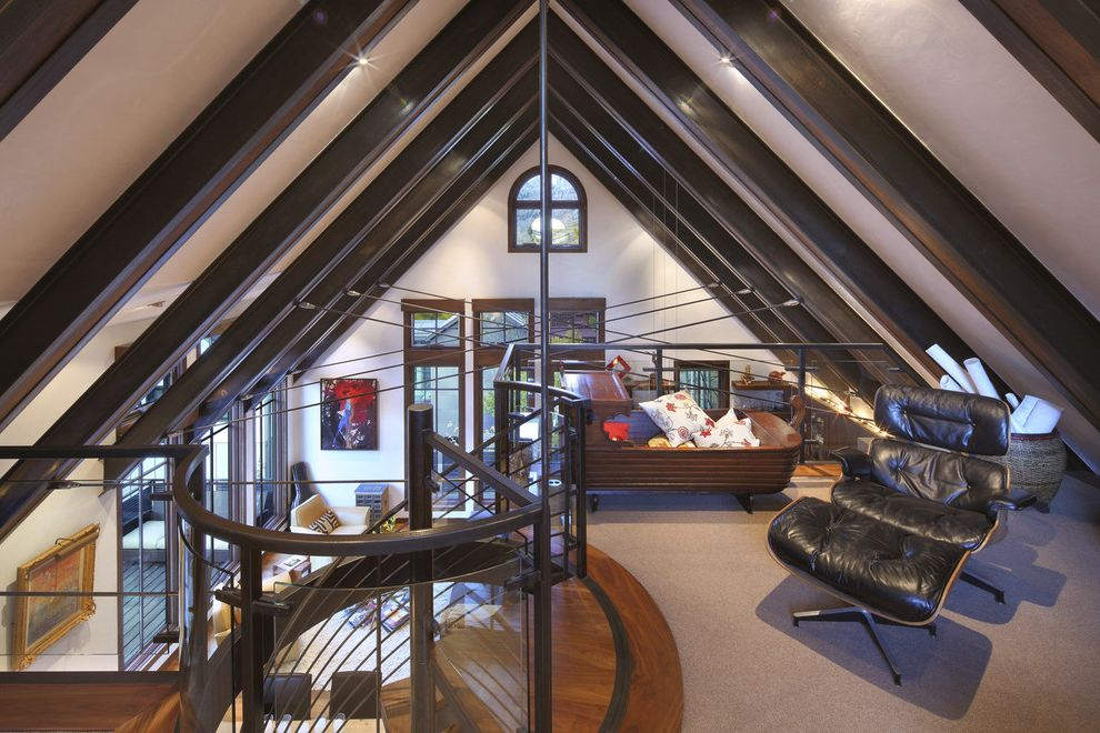 Convert Attic to Loft   Contemporary Family Room Also Alpine Roof Attic Cabin Clerestory Cradle Exposed Beams Exposed Structure Gable Roof Loft Sloped Ceiling Spiral Staircase Vaulted Ceiling