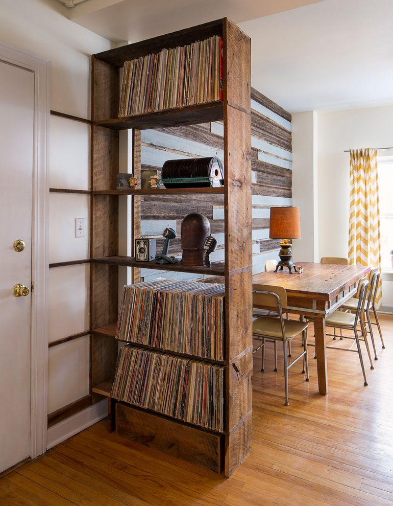 Cool Record Players   Eclectic Dining Room  and Accent Wall Antique Cabin Colored Wood Country Custom Decayed Reclaimed Recycled Rough Rustic Salvaged Shelving Storage Textured Up Cycled Wood Table