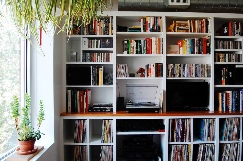 Cool Record Players with Industrial Living Room Also Bookcase Clerestory Library Open Shelves Open Shelving Unit