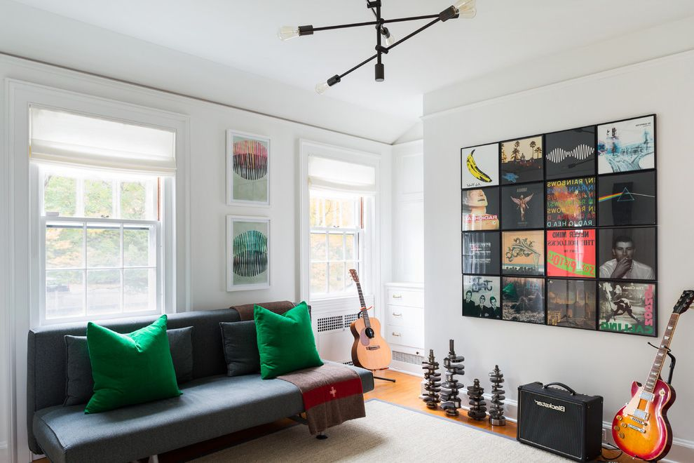 Cool Record Players with Transitional Family Room  and Futons Sofa Beds Green Guitar Guitars Hangout Industrial Records Sisal Vinyl White Roman Shades White Walls