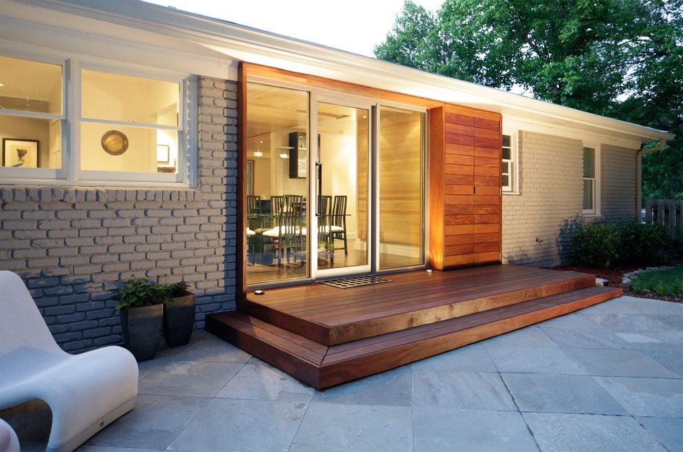 Cooper Electric Cincinnati   Midcentury Exterior Also Brick Entry Flat Roof Patio Door Storage Wood Wood Step