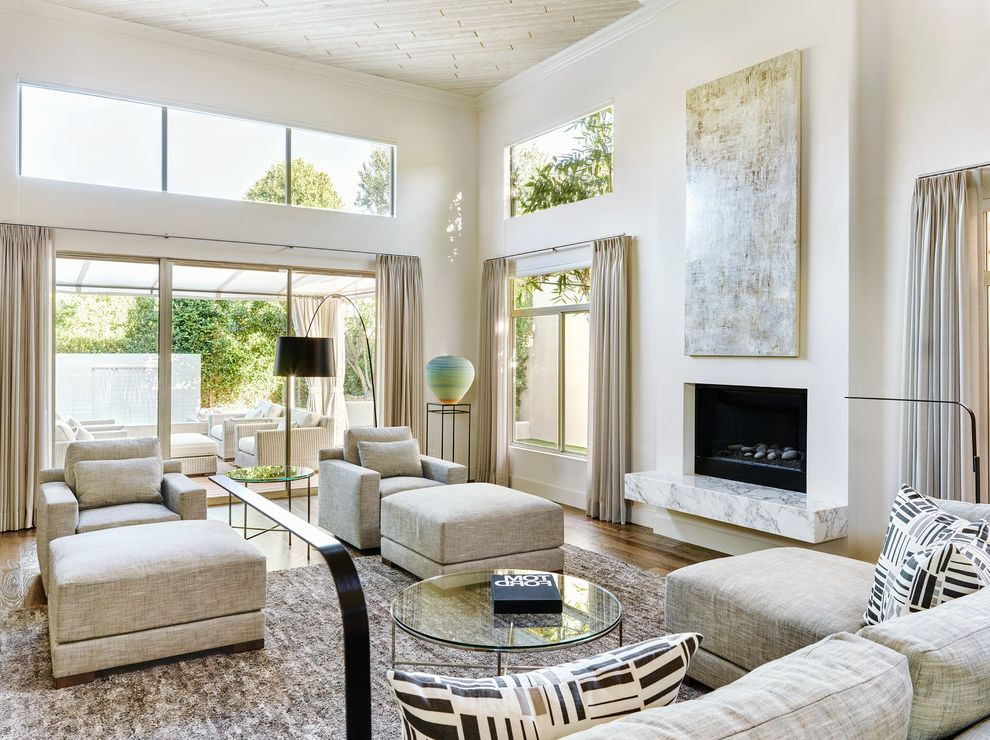 Copenhagen Furniture Scottsdale Contemporary Living Room And Beige Curtains  Clerestory Window Glass Top Coffee Table High