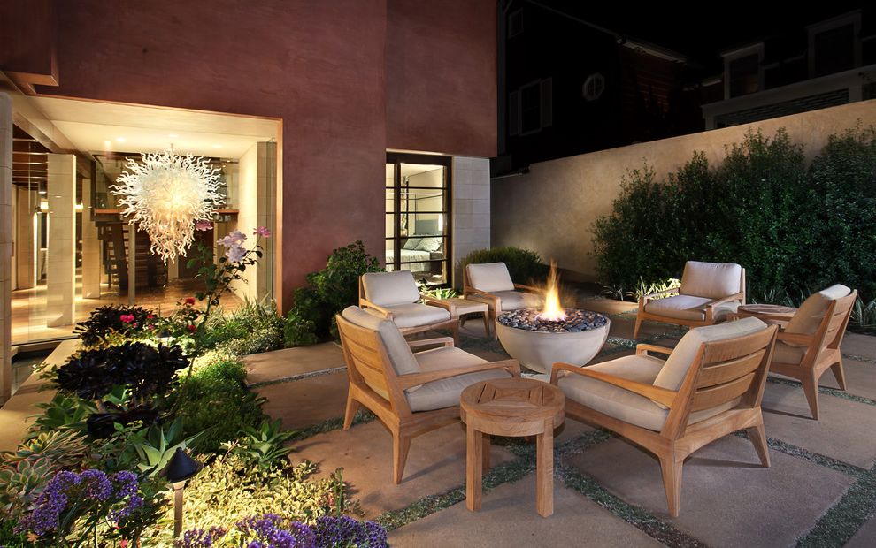 Copenhagen Furniture Scottsdale   Eclectic Patio  and Chihuly Like Concrete Squares Fire Pit Flowers Glass Chandelier Glass Sculpture Grid Outdoor Armchairs Patio Stucco Facade Stucco Wall