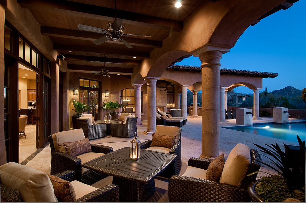 Copenhagen Furniture Scottsdale Mediterranean Patio Also Arches Beams  Ceiling Fan Outdoor Seating Pool Posts Travertine Wicker
