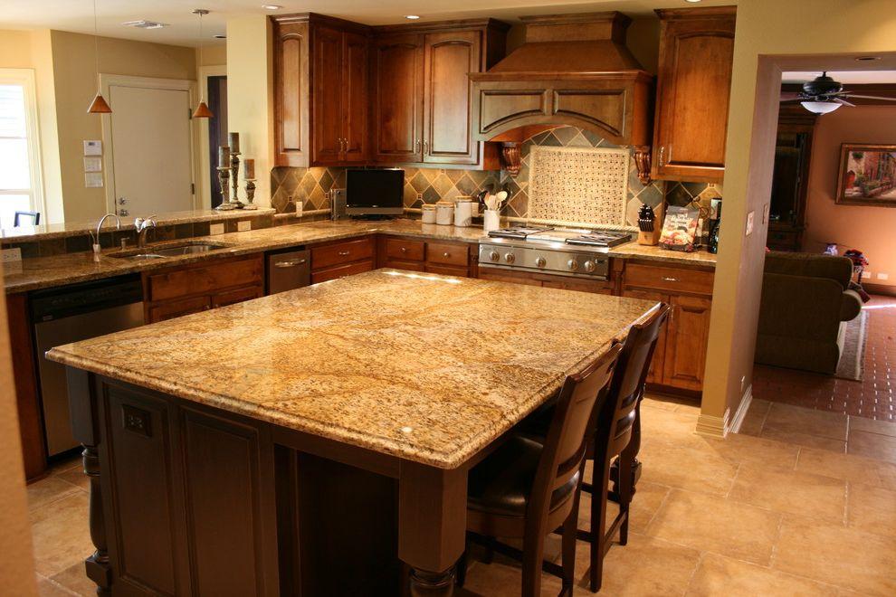 Copper Canyon Granite   Traditional Kitchen Also Backsplash Edge Granite Island Mini Mosaic Ogee Pendants Slate Travertine Yellow River