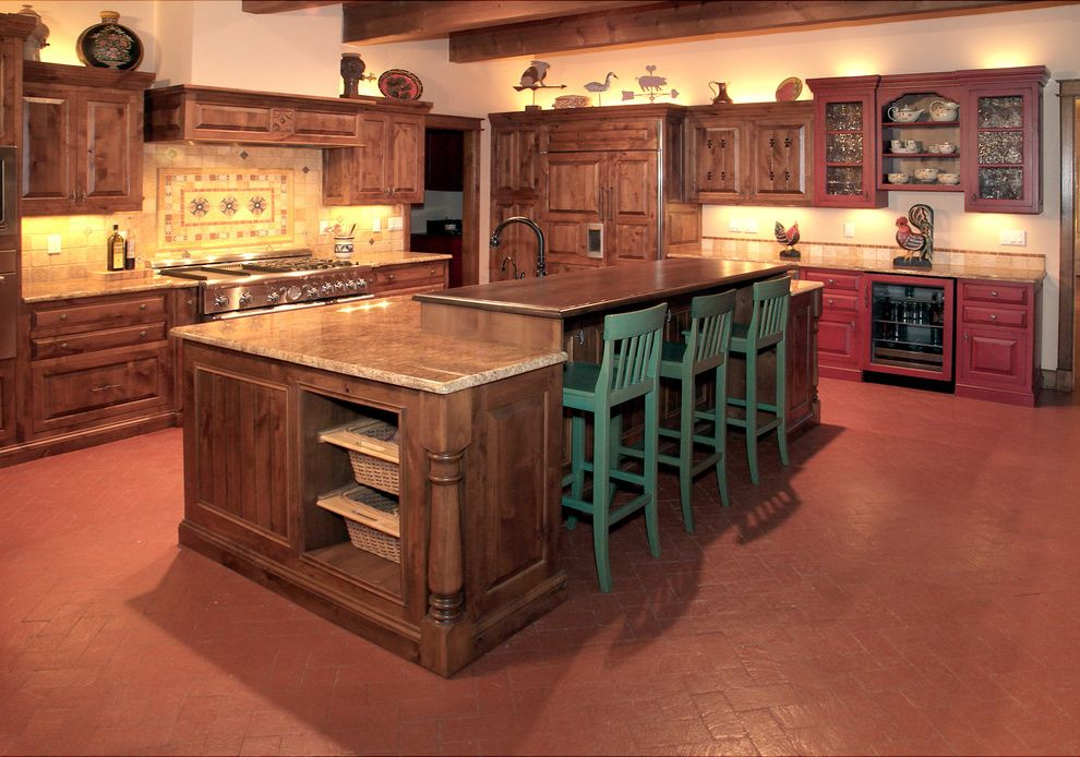Copper Canyon Granite   Traditional Kitchen Also Saltillo Tile Southwest Kitchen Spanish Tile Two Level Island