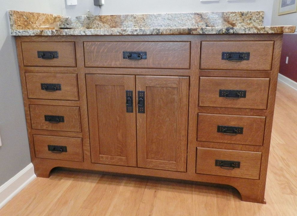 Copper Canyon Granite with Craftsman Kitchen  and Craftsman Style Inset Cabinets Mission Hardware Quarter Sawn Oak