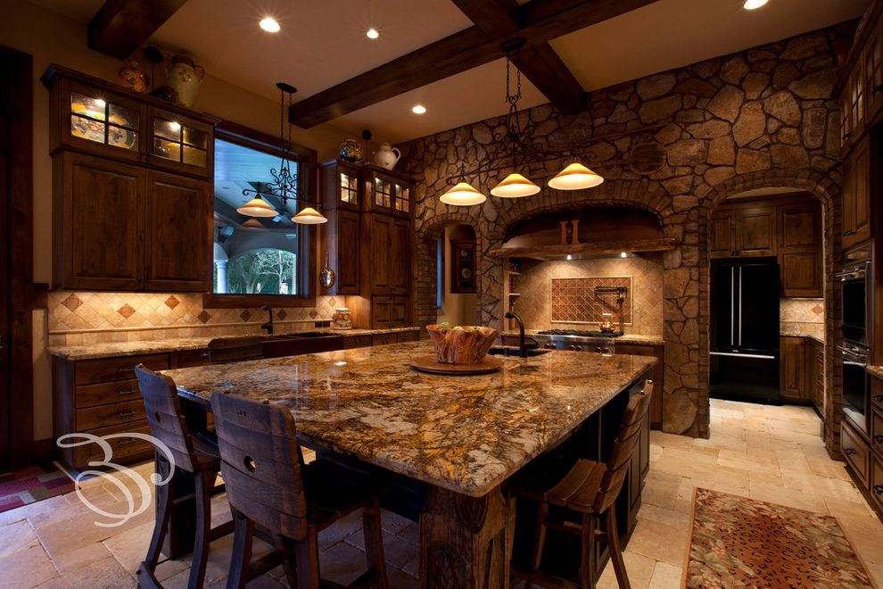 Copper Canyon Granite with Mediterranean Kitchen  and Countertops Kitchen Lighting Stone