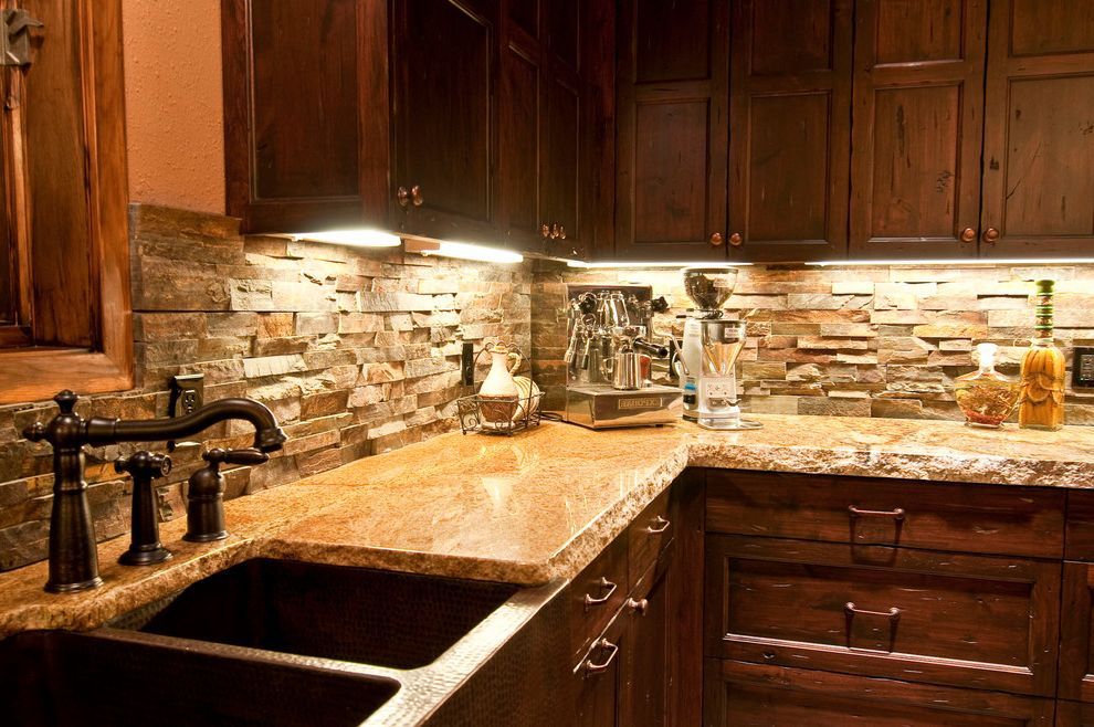 Copper Canyon Granite with Rustic Kitchen Also Barnwood Copper Farm Sink Espresso Machine Faux Oil Rubbed Appliances Oil Rubbed Bronze Stone Backsplash Wine Storage