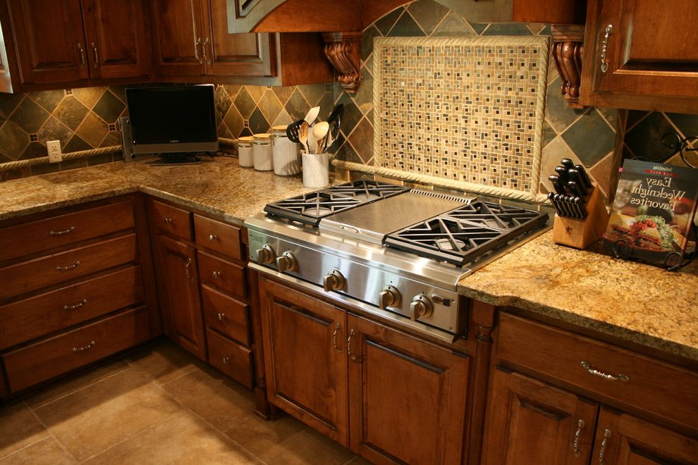 Copper Canyon Granite with Traditional Kitchen  and Backsplash Edge Granite Island Mini Mosaic Ogee Pendants Slate Travertine Yellow River