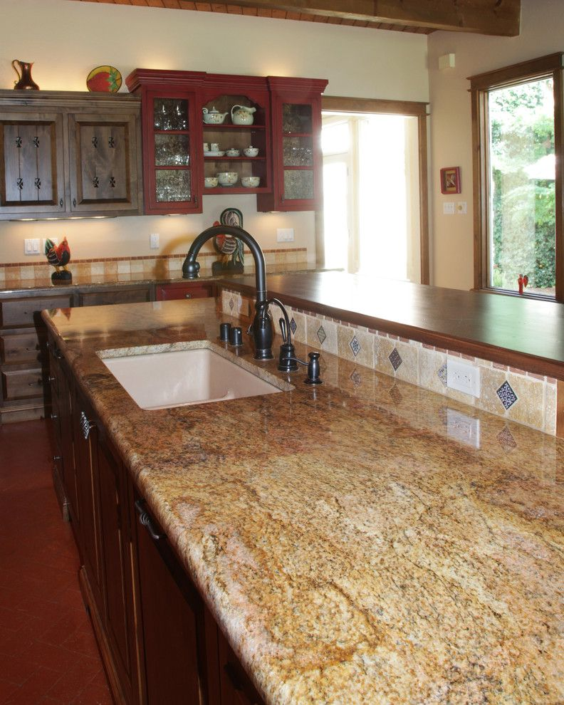 Copper Canyon Granite with Traditional Kitchen  and Butcher Block Copper Canyon Granite Granite Countertops Saltillo Tile Tile Backsplash Two Level Island Undermount Sink Wood Countertops
