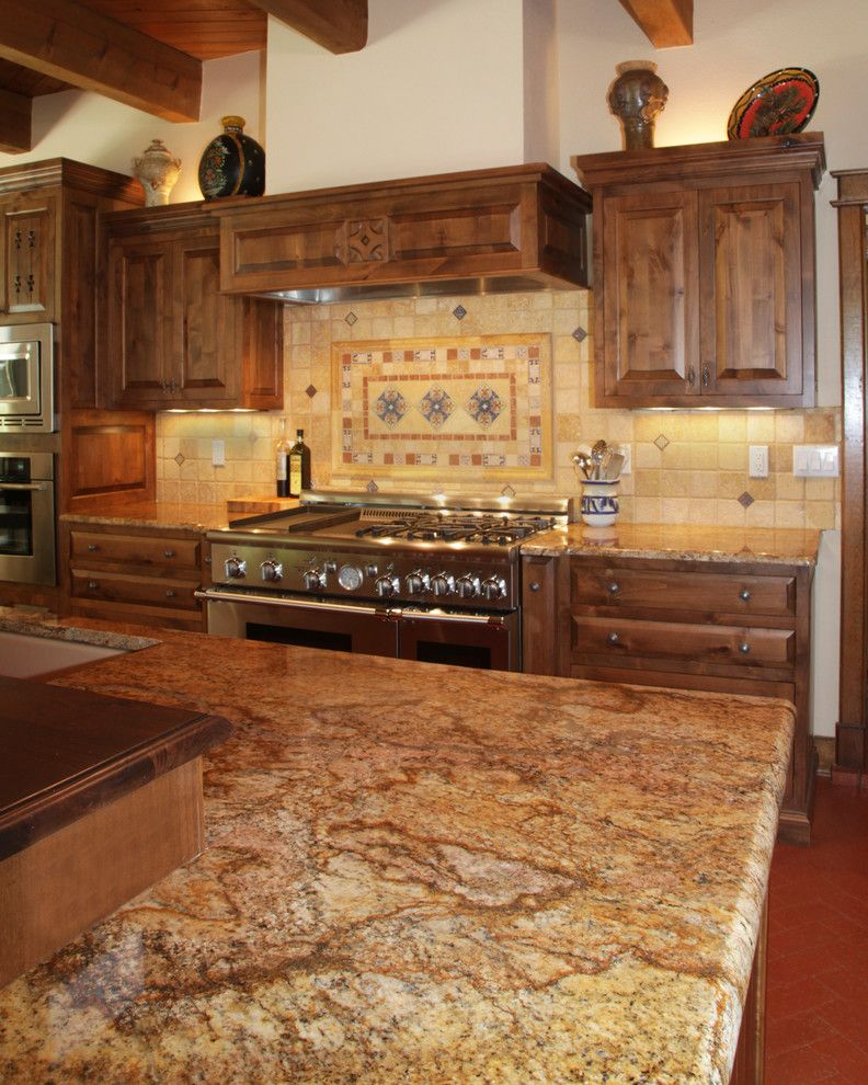 Copper Canyon Granite with Traditional Kitchen  and Butcher Block Copper Canyon Granite Granite Countertops Southwest Two Level Island Wood Countertops