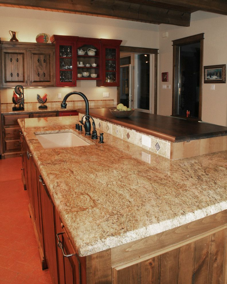 Copper Canyon Granite with Traditional Kitchen  and Butcher Block Countertops Copper Canyon Granite Granite Countertops Two Level Island Wood Countertops