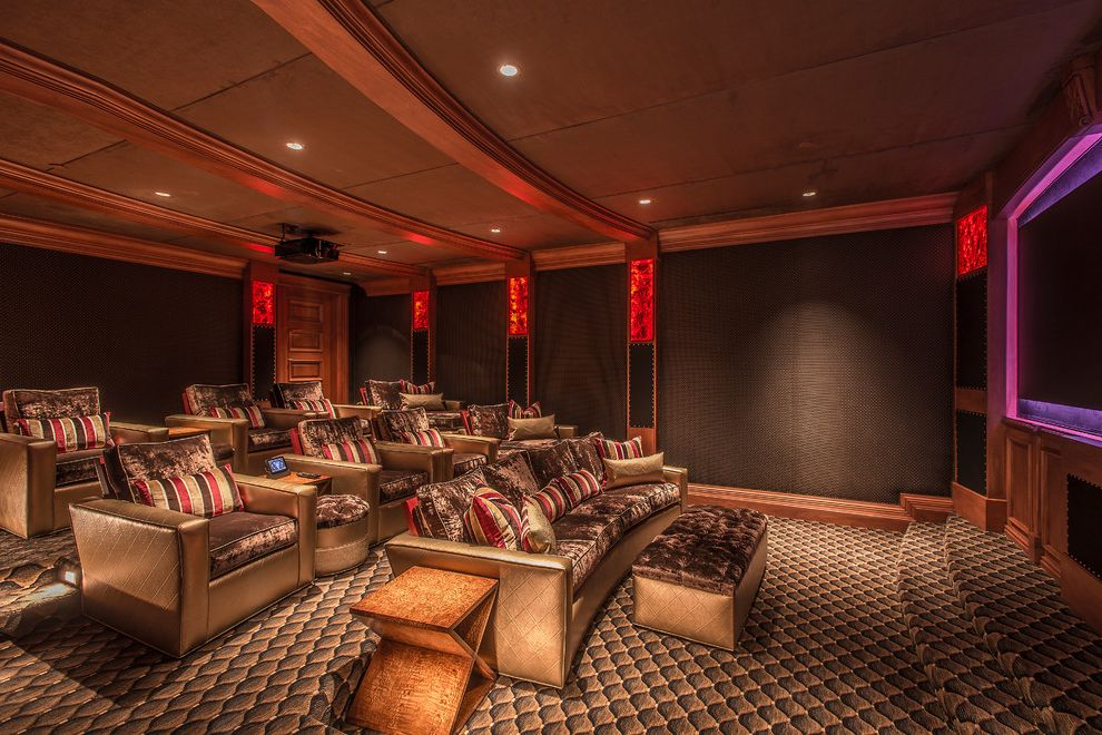 Copper Creek Theater   Mediterranean Home Theater Also Bronze Copper Crushed Velvet Gold Leather Fabric Combo Leather Walls Media Room Metallic Theater Room Track Arm Tv Room Wall Upholstery