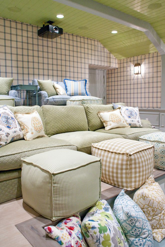 Copper Creek Theater   Traditional Home Theater Also Green Ceiling Plaid Wallpaper Poufs Tongue and Groove Ceiling