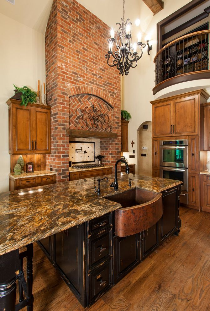 Copper Sink Reviews   Traditional Kitchen Also Black Island Brick Hood Brown Countertop Cedar Beams Copper Sink Distressed Cabinets Kitchen Island Knotty Alder Cabinets Medium Wood Flooring Oak Flooring Romeo and Juliet Balcony Two Story Kitchen