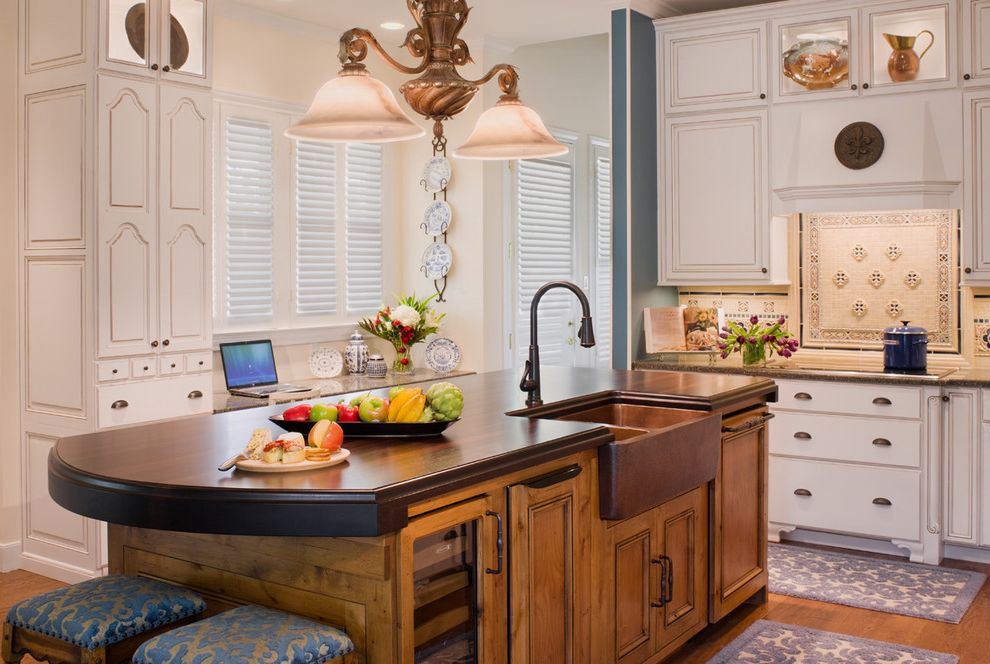 Copper Sink Reviews   Traditional Kitchen  and Bar Stools Blue Built Ins Covered Range Hood Curved Edge Island Desk Farmhouse Sink Pendant Light Plate Display Tile Backsplash Under Cabinet Lighting White Cabinets Wine Rack Wood Flooring Wood Island