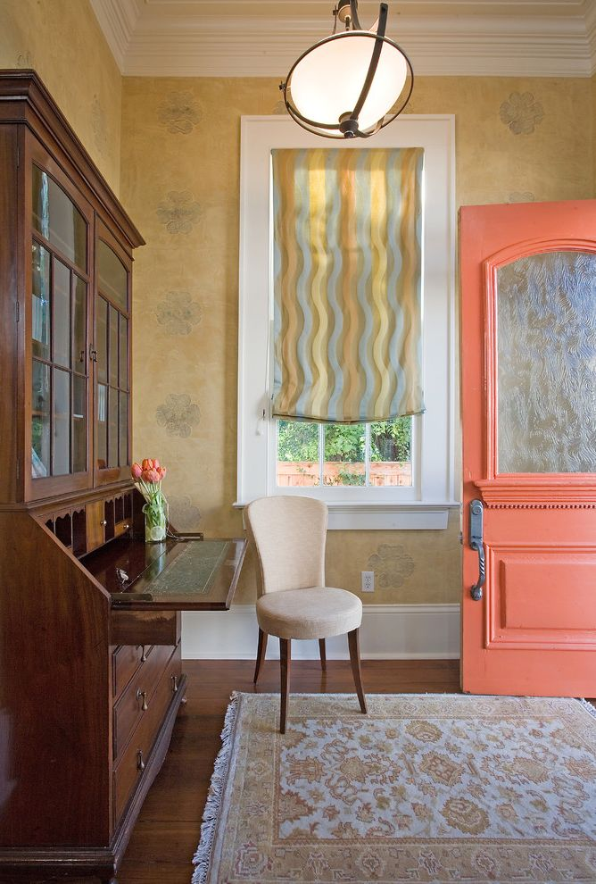 Coral Colored Area Rugs   Traditional Entry  and Area Rug Balloon Shades Baseboards Bowl Chandelier Colorful Front Door Coral Front Door Crown Molding Foyer Oriental Rug Secretary Desk White Wood Wood Flooring Wood Molding
