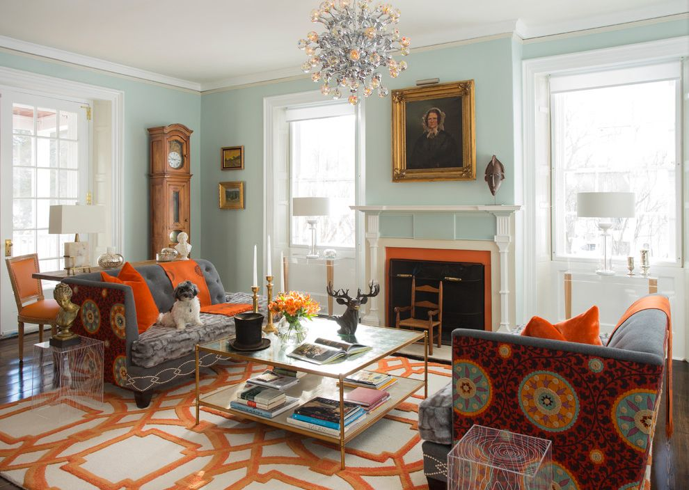 Coral Colored Area Rugs   Victorian Living Room Also Antiques Area Rug Chandelier Coffee Table Custom Eclectic Fireplace Geometric Glass Door Grandfather Clock Historic Light Blue Wall Orange Painting Sofa White Trim Windows