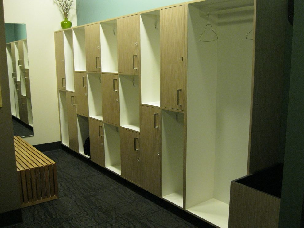 Core Power Yoga Austin with Industrial Spaces  and Commercial Lockers Millwork Modern Plastic Laminate Reception Desk