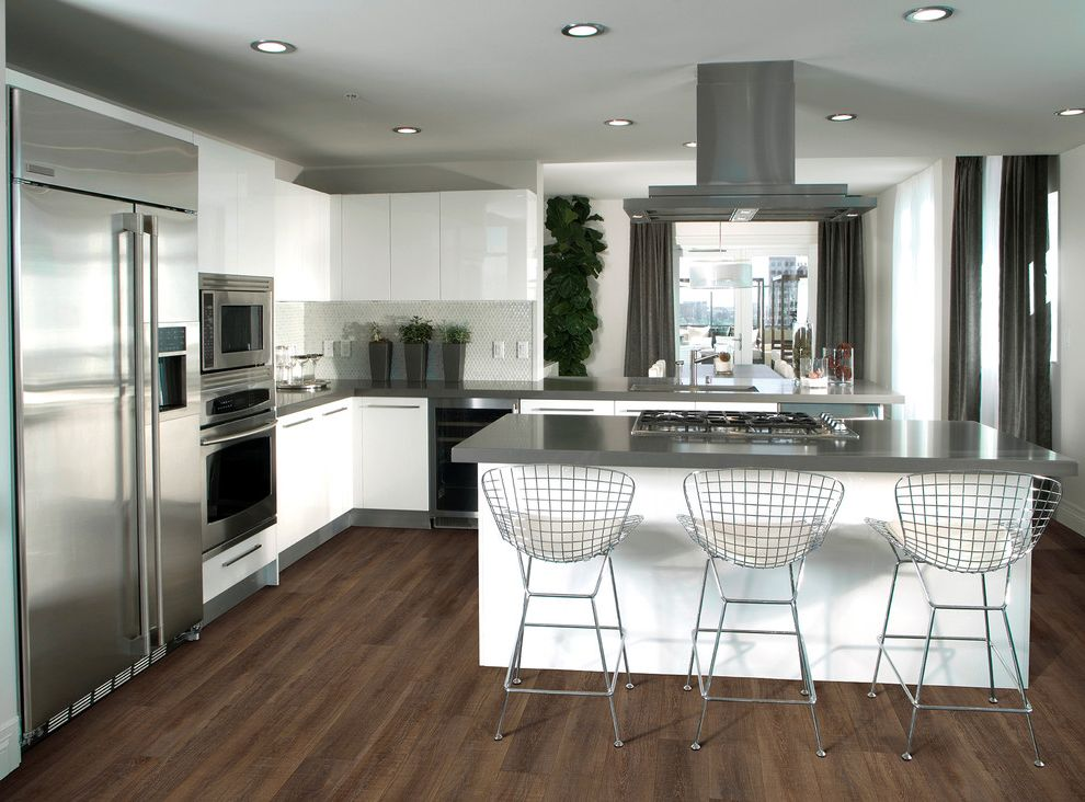 Coretec Plus Reviews with Contemporary Kitchen  and Flooring Kitchen Floors Vinyl Flooring Vinyl Plank Flooring White Kitchen Wide Plank Flooring