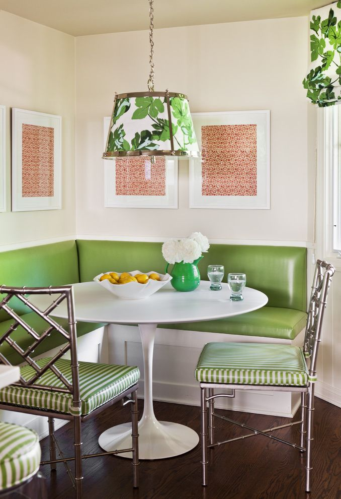 Corner Banquette Seating for Sale   Transitional Dining Room Also Banquette Built in Seating Dark Floor Fretwork Green Dining Chairs Pedestal Table Round Dining Table White Dining Table Wood Flooring