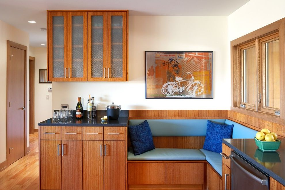 Corner Banquette Seating for Sale with Modern Kitchen Also Alcove Artwork Banquette Bar Area Barware Blue Cushions Niche Nook Wall Art Wall Decor Wood Cabinets Wood Flooring Wood Molding