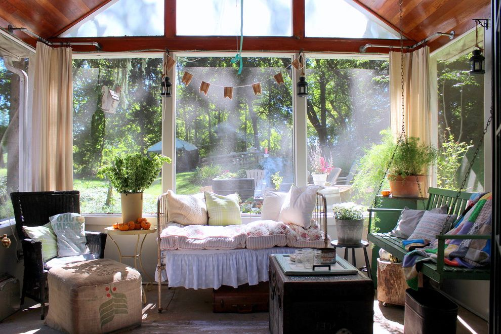 Corner Window Curtain Rod   Shabby Chic Style Porch Also Day Bed Daybed Dust Ruffle Lace Bed Skirt My Houzz Pennant Porch Swing Potted Plants Sheer Window Treatment Sloped Ceiling Small Lanterns Terracotta Pot Vaulted Ceiling White Bed Skirt