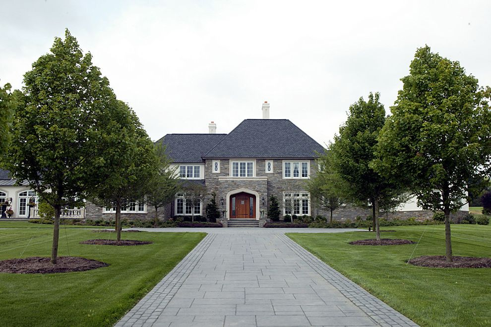 Cost of Concrete Driveway   Traditional Exterior  and Entrance Entry French Windows Front Door Mansard Path Pavers Stone Tile White Trim