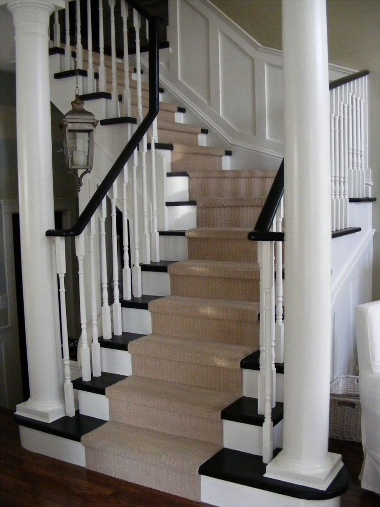 Costco Carpet Installation   Traditional Staircase Also Banister Black and White Carpet Runner Dark Floor Handrail Lanterns Mexican Pendant Lighting Wainscoting White Wood Wood Columns Wood Flooring Wood Railing Wood Staircase Wood Trim