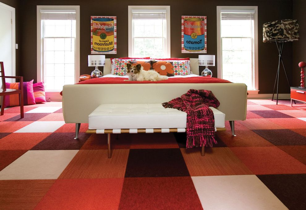 Costco Carpet Installation with Contemporary Bedroom  and Bedroom Bench Brown Walls Campbells Soup Checkerboard Chocolate Dog Floor Tiles Flor Floral Orange Pink Pop Tripod Lamp Upholstered Bed Warhol